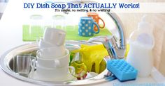 DIY Dish Soap That ACTUALLY Works! It's Simple, No melting, & No Waiting - thehippyhomemaker.com