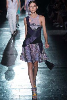 Prabal Gurung | Spring 2015 Ready-to-Wear | 16 Purple/black patchwork halter mini dress