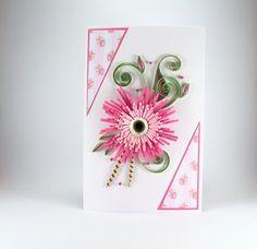 Birthday Card for Girlfriend - Beautiful Handmade Quilling Card - Pink Gerbera - Paper Flower Design - Flowers For Girlfriend, Birthday Cards For Girlfriend, Cool Birthday Cards, Birthday Wishes Funny, Birthday Card Design, Daughter Birthday, Birthday Diy, Handmade Birthday Cards, Birthday Greetings