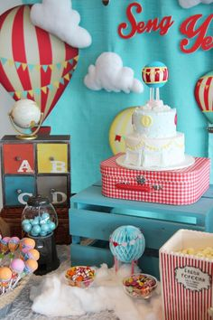 """Growing Up Up Up"" Themed Hot Air Balloon Birthday Party via Kara's Party Ideas 
