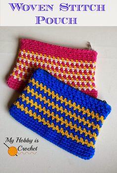 My Hobby Is Crochet: Woven Stitch Zipper Pouch | Free Crochet Pattern | My Hobby is Crochet