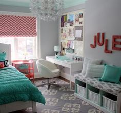 Jules' bedroom is small but, like most tweens, needed a ton of practical storage. She wanted to be able to display photos, posters and treasures, have a desk for schoolwork and banish any sign of pink. I created a room that reflected her personality and functioned to suit her needs. It is a room that will grow with her.