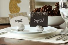 Walnut Name Tag Holders for Your Holiday Place Settings