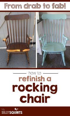 Drab to fab: Wie ein Schaukelstuhl nachgearbeitet wird - Rocking Armchair Rocking Chair Bois, Painted Rocking Chairs, Vintage Rocking Chair, Rocking Chair Makeover, Rocking Chair Nursery, Wooden Rocking Chairs, Rocking Chair Cushions, Dining Room Chair Cushions, Ikea Chair
