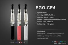 Most popular eGo Ce4 electronic cigarette all over the world:  http://www.vceego.com/eGo-CE4-CE5-Starter-Kit.html