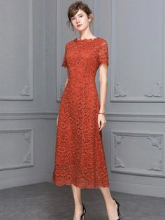 Orange Guipure Lace Maxi Dress With Short Sleeve Modest Dresses, Elegant Dresses, Casual Dresses, Short Dresses, Beautiful Summer Dresses, Pretty Dresses, Dress Brokat, Creation Couture, Lace Dress With Sleeves