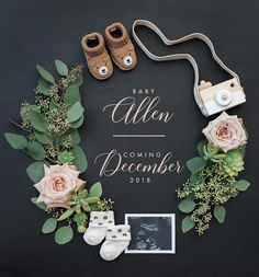 Adorable pregnancy annoucement from wedding photographers Betsy & John. Chalkboard with wood camera, sonogram & floral wreath with succulents and roses. Cute Baby Announcements, Creative Pregnancy Announcement, Pregnancy Info, Announce Pregnancy, Baby Announcement Photos, Facebook Pregnancy Announcement, Pregnancy Reveal Photos, Rainbow Baby Announcement, Gender Reveal Announcement