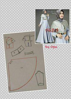 Dress For Hijabers Long Dress Patterns, Dress Sewing Patterns, Clothing Patterns, Abaya Pattern, Cape Pattern, Pattern Design, Sewing Tutorials, Sewing Projects, Fashion Vocabulary