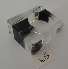 60s clear & black stripes heavy laminated lucite ring Size 6.5