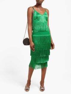 Tiered-fringe stretch-jersey crop top | Norma Kamali | MATCHESFASHION US Silver Shirt, Norma Kamali, Video New, Glam Rock, Green Tops, Favorite Color, Crop Tops, Pretty, How To Wear