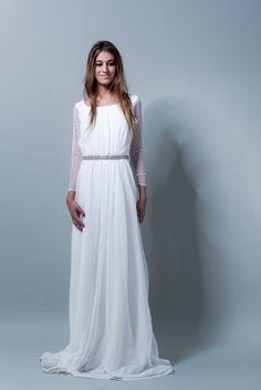 el blog de ana suero-Vestidos novia 2016-Maria Baraza vestido Adriana manga plumeti escote espalda