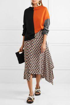 Marni | Asymmetric printed silk-crepe midi skirt | NET-A-PORTER.COM