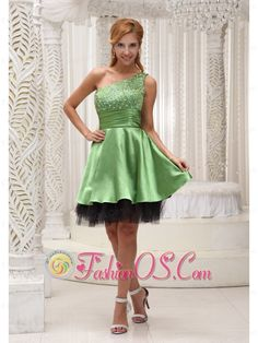Beaded Decorate One Shoulder and Bust Spring Green and Black Prom / Homecoming Dress For 2013    http://www.fashionos.com  Sexy spring green prom dress is perfect for any hot little number! One shoulder bodice is high lighted with the colorful beading throughout. The ruched wasistband contours your curve.The mini-length skirt makes you chic and sexy. The back hemline adds the charm.