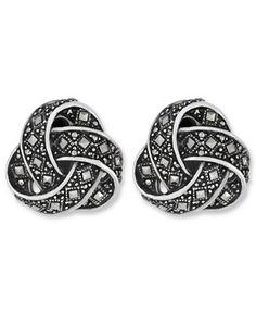 Genevieve & Grace Sterling Silver Earrings, Marcasite Square Knot Clip-On Earrings
