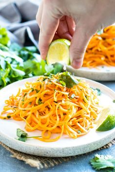 Learn how to make Cilantro Lime Sweet Potato Noodles with a spiralizer in under 15 minutes! Good Sweet Potato Recipe, Sweet Potato Recipes Healthy, Sweet Potato Hummus, Sweet Potato Noodles, Vegetarian Recipes, Healthy Recipes, Hasselback Sweet Potatoes, Cooking Sweet Potatoes, Quick Side Dishes