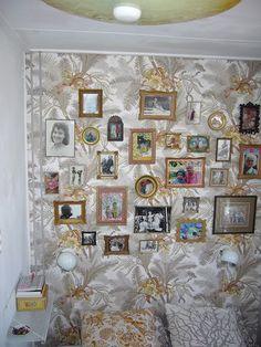 vintage antique frames on wallpaper