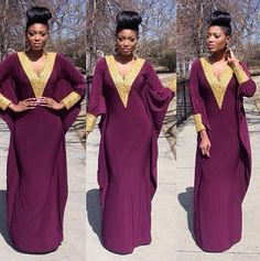 {Grow Lust Worthy Hair FASTER Naturally} www.HairTriggerr.com       Regal Batwing Maxi Dress and Top Knot!!!❤️