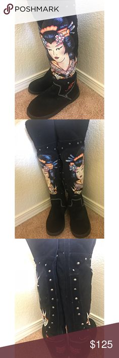 Ed Hardy Black Geisha Snowblazer Boots/Booties Worn a few times but no sign of wear. Wonderful condition and authentic Ed Hardy Shoes Winter & Rain Boots