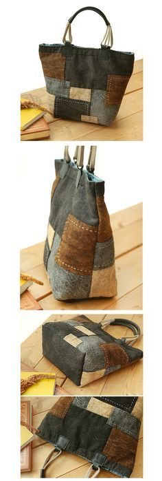 [블럭 스티치 ★토트백] Patchwork Bags, Quilted Bag, Denim Handbags, Purses And Handbags, Denim Bag, Fabric Bags, Little Bag, Small Bags, Bag Making