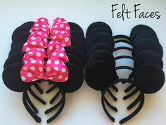 This listing is for a set of 12 Minnie / Mickey ears, 6 Minnie and 6 Mickey. Minnie bows come in two colors, Red or Hot Pink. Please add in the notes