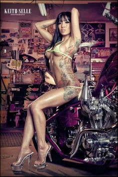 stunning hot asian girl on a motorcycle Sexy Tattoos, Girl Tattoos, Tatoos, Tattoo Girls, Woman Tattoos, Serpieri, Pin Up, Foto Art, Biker Girl