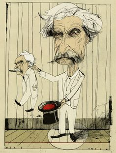 DAVID HUGHES. Illustration for The New Yorker dec.2010. Mark Twain