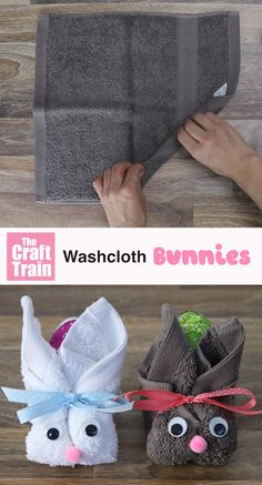 washcloth bunny craft idea for kids. This is a cute and easy DIY Easter gift idea – and no-sew too! washcloth bunny craft idea for kids. This is a cute and easy DIY Easter gift idea – and no-sew too! Bunny Crafts, Easter Crafts For Kids, Rabbit Crafts, Cute Easter Bunny, Hoppy Easter, Towel Crafts, Spring Crafts, Easter Baskets, Design Crafts