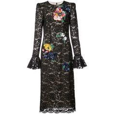 Monique Lhuillier flower lace gown ($5,810) ❤ liked on Polyvore featuring dresses, gowns, black, monique lhuillier dresses, flower dress, blossom dress, lace dress and monique lhuillier gowns
