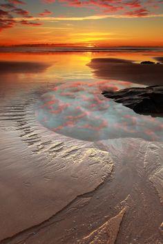 Pathway to the sun. Tasmania, Australia.