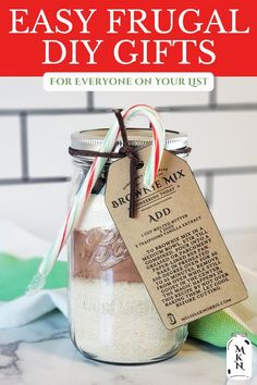 There's nothing more cherished than a homemade Christmas gift. Back in the pioneer days, almost all the gifts were handmade, carefully planned and thought out for months in advance. Here's a list of quick and easy (and affordable) DIY gift ideas. Homemade Christmas Gifts, Homemade Gifts, Diy Gifts, Homemade Cake Mixes, Homemade Spices, Do It Yourself Inspiration, Box Cake Mix, Fudge Brownies, Lotion Bars