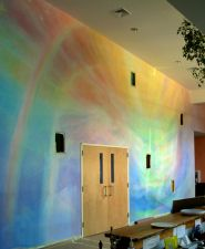 How dare this wall be prettier than me Lazure Painting, Faux Painting Walls, Glaze Paint, Education Jobs, Rainbow Room, Rudolf Steiner, Watercolor Walls, Mural Wall Art, Big Girl Rooms