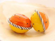 Hohle Orange-Gelb handgemachte Lampwork-paar von IrinaS auf Etsy