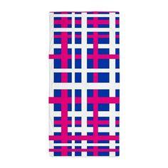 Blue & Pink Interlocking Stripes Beach Towel on CafePress.com