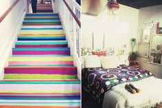 stair risers are so fun!  saw a DIY to make it non-permanent - use a thin wood, cut to riser size, paint and adhere