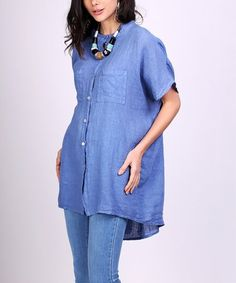 Loving this Jean Linen Button-Up Tunic - Women on #zulily! #zulilyfinds
