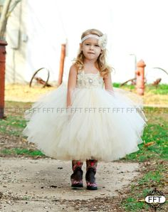 Ivory Champagne Flower Girl Dress Tutu Dress by FrillyFairyTales