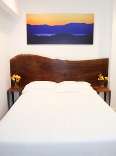 walnut slab headboard
