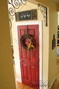 Pantry door painted red  bhg swatch
