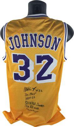 612e7140947 Magic Johnson Signed Autographed Stat Lakers Hardwood Classic Jersey JSA