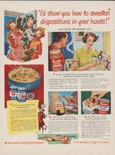 """Description: 1949 BORDEN'S vintage print advertisement """"I'll show you how to sweeten dispositions in your house!"""" """"... says Elsie, the Borden Cow. Make him beam! He'll say new """"Flavor Peak"""" process makes this instant coffee tops ! Dress up leftovers with Super Sauces! Treat him to Hemo during those critical growing years!"""" Size: The dimensions of the full-page advertisement are approximately 11 inches x 14 inches (28 cm x 36 cm). Condition: This original vintage advertisement is in Very Good…"""