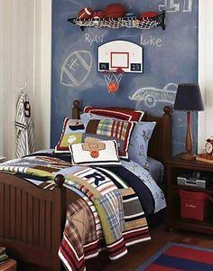 boys room wall idea with blue painted chalkboard headboard