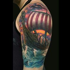 Viking Ship Tattoo by Jamie Lee Parker