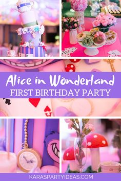 Kara's Party Ideas Alice in Wonderland First Birthday Party 1st Birthday Party For Girls, Girl Birthday Themes, Carnival Birthday Parties, Birthday Ideas, Girl Themes, Alice In Wonderland Tea Party Birthday, Wonderland Alice, First Birthdays, Party Ideas