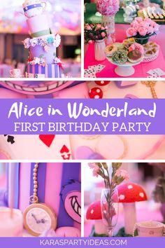 Kara's Party Ideas Alice in Wonderland First Birthday Party 1st Birthday Party For Girls, First Birthday Themes, Carnival Birthday Parties, Birthday Party Decorations, First Birthdays, Birthday Ideas, Birthday Centerpieces, Alice In Wonderland Tea Party Birthday, Wonderland Alice