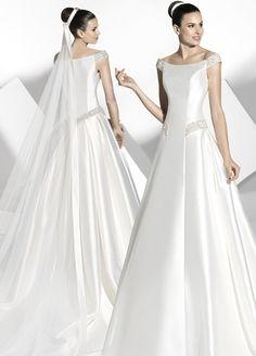 2013 Active Off-the-shoulder A-line Formal Court Train Wedding Gown Wedding Dress 2013, Modest Wedding Gowns, Beautiful Wedding Gowns, Wedding Dresses For Girls, Bridal Dresses, Elegant Wedding, Satin Dresses, Nice Dresses, Dresses 2014