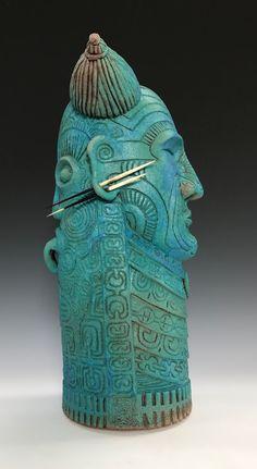 Warrior #30 Ceramic sculpture by Gene Dodak.  www.genedodak.com #GeneDodak #clay #ceramic #ceramics #CeramicArtist #ceramicart #sculpture #art #clay #handbuilt #handmade #TribalHeads #PalmSprings