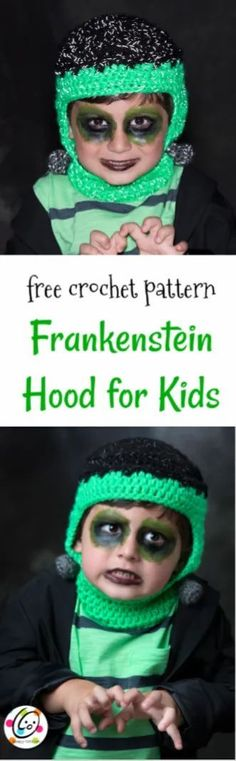 Free Crochet Pattern: Frankenstein Hood for kids #crochetpatterns #crochethalloween #diyhalloween #diycostume #easycostume Bow Pattern, Free Pattern, Create An Animal, Halloween Crochet Patterns, Crochet Projects, Crochet Tutorials, Easy Costumes, Red Heart Yarn, Stitch Markers