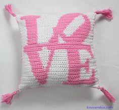 """Crochet """"love"""" pillow"""
