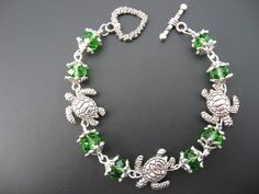 Turtle Jewelry Bracelet - Green Turtle Bracelet. $21.95, via Etsy.