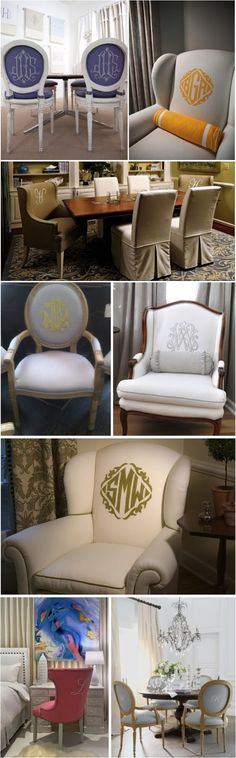 Keaton & Co.: CHAIR OF THE BOARD: MONOGRAMMED UPHOLSTERED CHAIRS